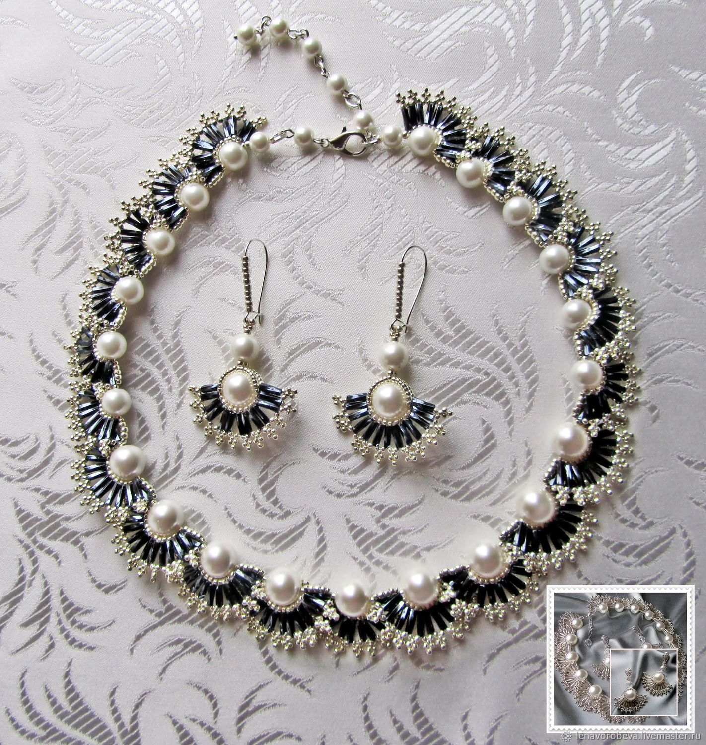 Jewelry set-Pearl wave-2 Necklace Earrings, Jewelry Sets, Voronezh,  Фото №1