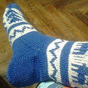 Аксессуары ручной работы. Ярмарка Мастеров - ручная работа Новогодние носки синие. Handmade.