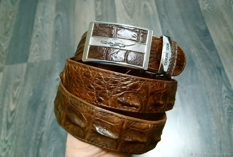 Ремень мужской, из рельефной части натуральной кожи крокодила, Ремни, Тосно,  Фото №1