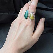 Украшения handmade. Livemaster - original item Double ring with malachite and polychrome tourmaline. Handmade.