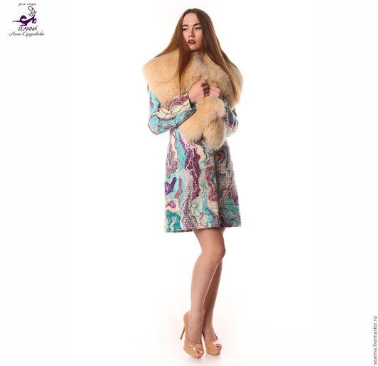 """Верхняя одежда ручной работы. Ярмарка Мастеров - ручная работа. Купить Роскошное пальто ручной работы """"Драгоценная Акварель"""" в любых цветах. Handmade."""