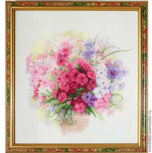 """Картины цветов ручной работы. Ярмарка Мастеров - ручная работа. Купить картина """"Акварельные флоксы"""". Handmade. Вышивка, натюрморт с цветами"""