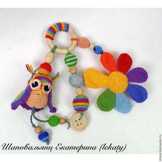 Развивающие игрушки ручной работы. Ярмарка Мастеров - ручная работа. Купить Грызунок с совой и цветком. Handmade. Разноцветный, грызунок