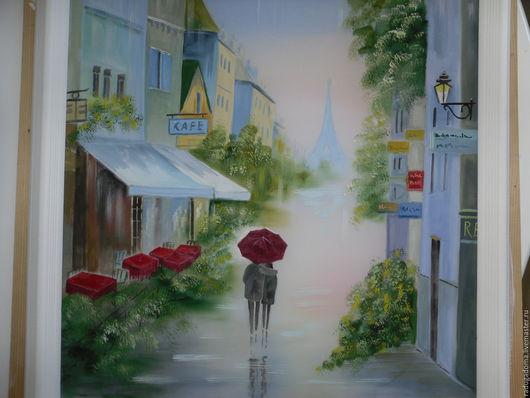 Город ручной работы. Ярмарка Мастеров - ручная работа. Купить Картина. Двое под дождем.. Handmade. Ярко-зелёный, голубой