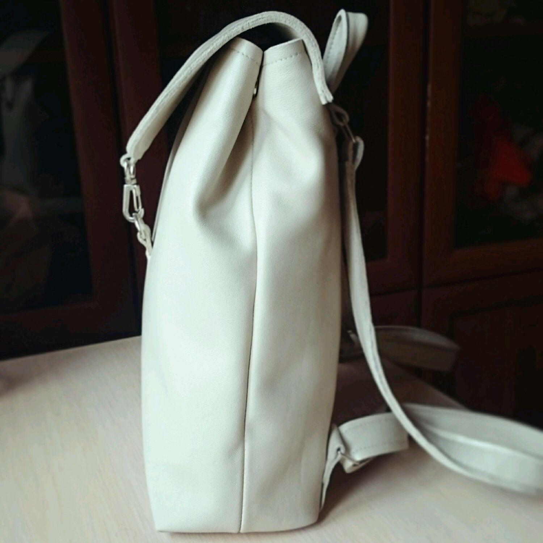 03516096f534 Белый кожаный рюкзак ручной работы