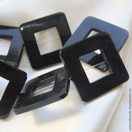 Для украшений ручной работы. Ярмарка Мастеров - ручная работа. Купить РОГ РАМКА коннектор черные. Handmade. Рог, бусины