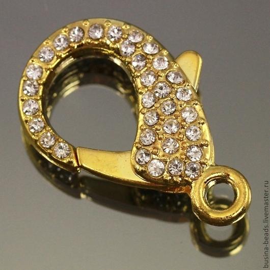 Замок карабин Лобстер с покрытием цвета золото усеянный стразами для использования в сборке украшений, браслетов и брелков