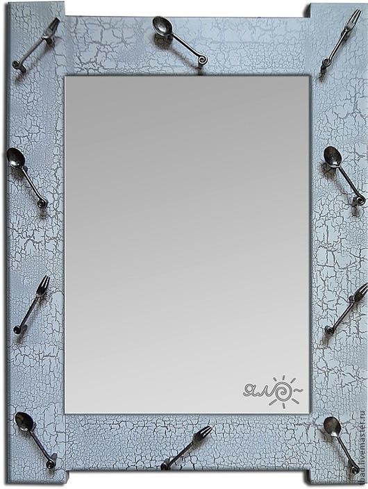 """Зеркала ручной работы. Ярмарка Мастеров - ручная работа. Купить Зеркало для кухни серебристое """"Ложки"""". Handmade. Серебряный, интерьер кухни"""
