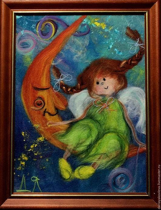 Люди, ручной работы. Ярмарка Мастеров - ручная работа. Купить Картина из шерсти Лунная прогулка. Handmade. Зеленый, картина в подарок