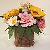 Flowers handmade. Livemaster - original item The basket of flowers polymer clay Bright summer.. Handmade.