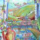 Город ручной работы. Ярмарка Мастеров - ручная работа. Купить Рим (второй по цвету вариант). Handmade. Картина, синий, италия