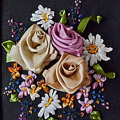 Картины и панно ручной работы. Ярмарка Мастеров - ручная работа Букетик цветов. Вышивка лентами. Ручная работа.. Handmade.
