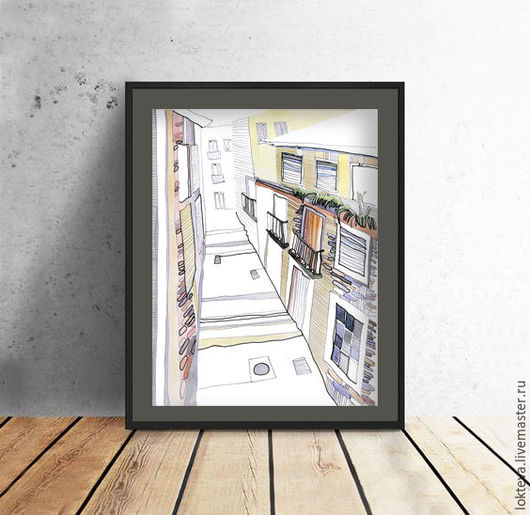 """Город ручной работы. Ярмарка Мастеров - ручная работа. Купить Графика, акварель """"Переулок Лиссабона. Португалия"""". Handmade. Разноцветный, переулки"""