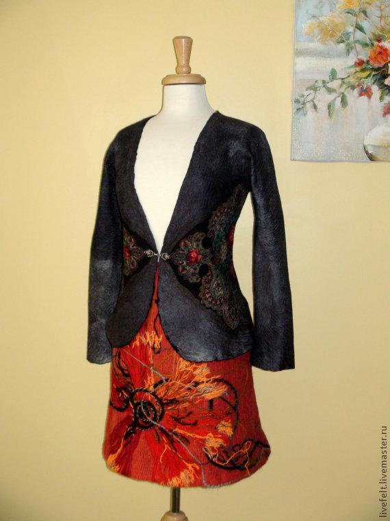 Пиджаки, жакеты ручной работы. Ярмарка Мастеров - ручная работа. Купить Валяный пиджак. Handmade. Русский стиль, розы, длинный