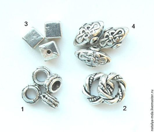 Для украшений ручной работы. Ярмарка Мастеров - ручная работа. Купить Бусины металлические античное серебро С-10. Handmade.