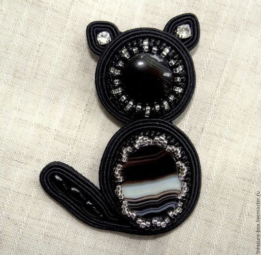 """Броши ручной работы. Ярмарка Мастеров - ручная работа. Купить Брошь сутажная """"Черный кот"""". Handmade. Черный, сутажные украшения"""