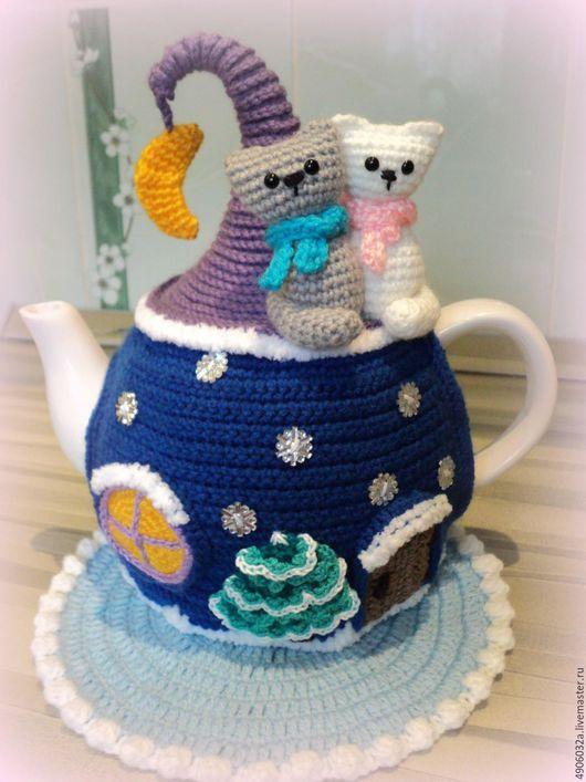 """Кухня ручной работы. Ярмарка Мастеров - ручная работа. Купить Грелка с чайником """"Зимняя сказка"""". Handmade. Тёмно-синий, интерьер"""