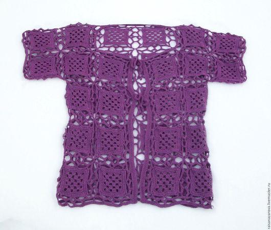 Кофты и свитера ручной работы. Ярмарка Мастеров - ручная работа. Купить Фиолетовый ажурный кардиган Виола. Handmade. Тёмно-фиолетовый