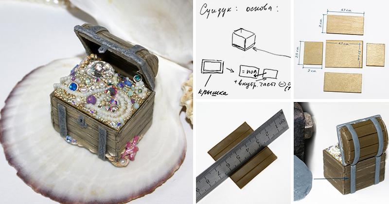 Шкатулка-обманка «Сокровища семи морей» с кристаллами Swarovski и натуральным жемчугом