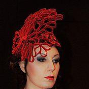 """Аксессуары ручной работы. Ярмарка Мастеров - ручная работа Вечерняя шляпка """"Красный шик"""". Handmade."""