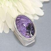 Украшения handmade. Livemaster - original item Ring with charoite. Silver. Handmade.