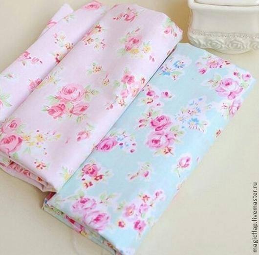 Шитье ручной работы. Ярмарка Мастеров - ручная работа. Купить Ткань хлопок Шебби Розы. Мятный и розовый. Для одежды,текстиля, кукол. Handmade.