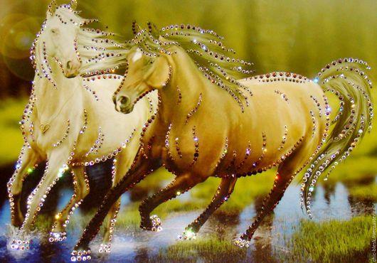 """Животные ручной работы. Ярмарка Мастеров - ручная работа. Купить """"Пара коней"""". Handmade. Комбинированный, сваровски кристаллы"""