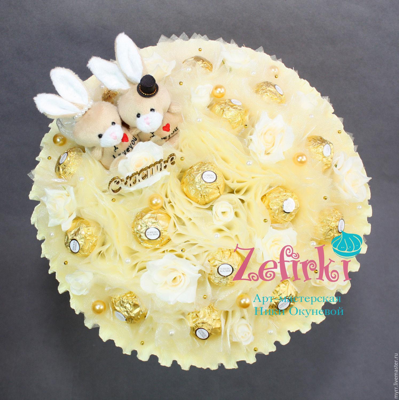 Букет на свадьбу в подарок молодоженам из конфет доставка цветов в г.химки