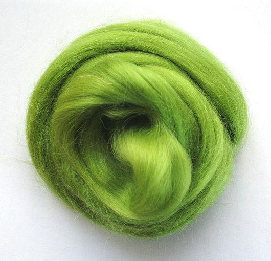 Валяние ручной работы. Ярмарка Мастеров - ручная работа. Купить Шерсть Wensleydale окрашенная - цвет Зеленое яблоко. Handmade. Салатовый