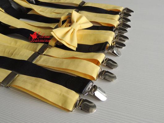 Галстуки, бабочки ручной работы. Ярмарка Мастеров - ручная работа. Купить Комплект подтяжки + бабочка галстук желтый, хлопок. Handmade.