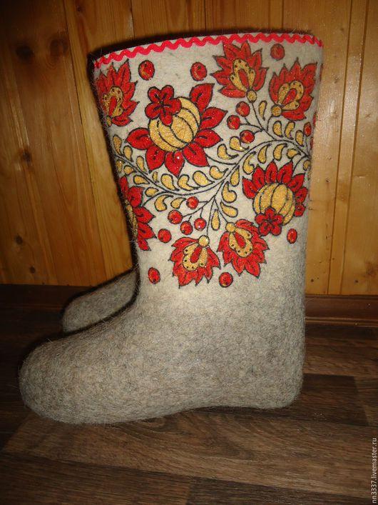 """Обувь ручной работы. Ярмарка Мастеров - ручная работа. Купить Валенки женские """"Хохлома"""". Handmade. Белый, валенки ручной работы"""