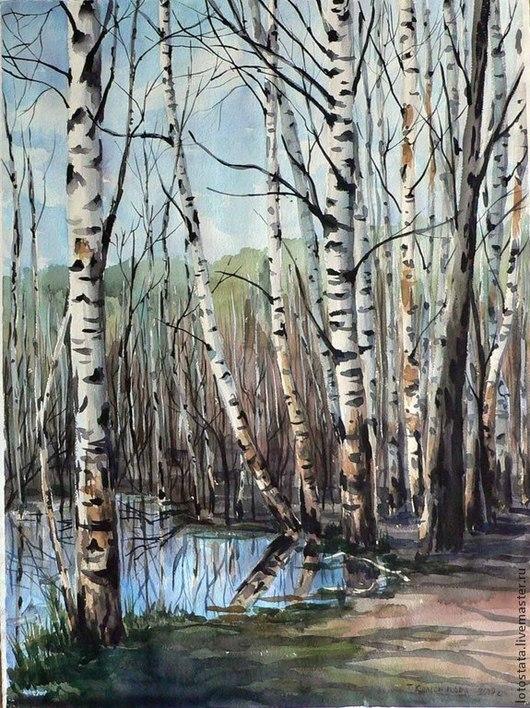 """Пейзаж ручной работы. Ярмарка Мастеров - ручная работа. Купить Картина """"Светлое озеро"""". Handmade. Акварель, картина акварелью, пейзаж"""