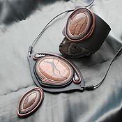 """Украшения handmade. Livemaster - original item Комплект """"Морозное утро"""". Украшение из кожи и камня. Handmade."""