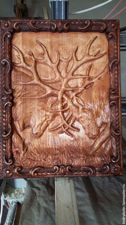 """Пейзаж ручной работы. Ярмарка Мастеров - ручная работа. Купить Картина из дерева """"Олени"""". Handmade. Коричневый, лесной пейзаж, лес"""