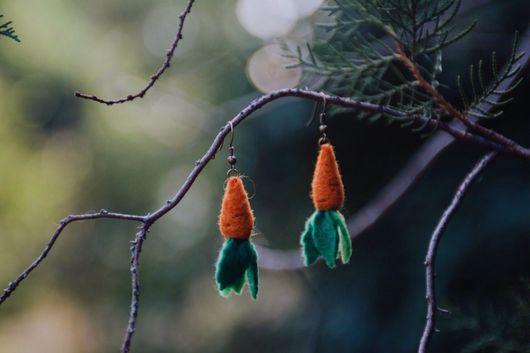 Серьги ручной работы. Ярмарка Мастеров - ручная работа. Купить Серги Морковки. Handmade. Оранжевый, шерсть, серьги ручной работы
