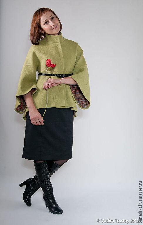 Верхняя одежда ручной работы. Ярмарка Мастеров - ручная работа. Купить Пальто. Handmade. Зеленый, полупальто, рукав три четверти