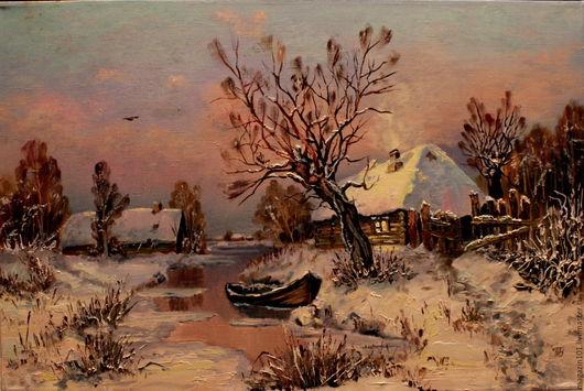 Пейзаж ручной работы. Ярмарка Мастеров - ручная работа. Купить Лодка на зимнем ручье. Копия.Картина холст масло. Handmade.