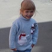 Работы для детей, handmade. Livemaster - original item sweater with neck Snowman-sweet-tooth knitted children`s author for girls. Handmade.