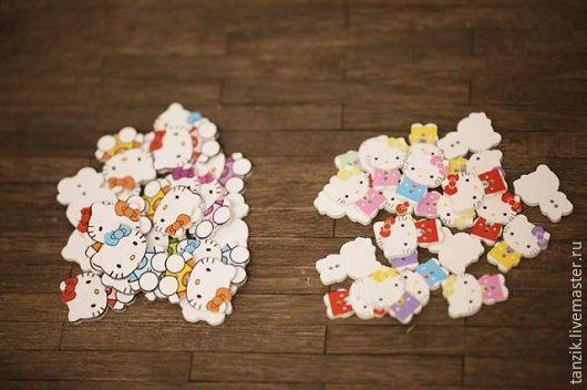 """Куклы и игрушки ручной работы. Ярмарка Мастеров - ручная работа. Купить Пуговка деревянная """"Китти"""". Handmade. Комбинированный, пуговицы для игрушек"""