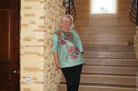 """Кофты и свитера ручной работы. Ярмарка Мастеров - ручная работа. Купить """"Eucalyptus flowers""""  свитер нуновойлок продан. Handmade. Комбинированный"""