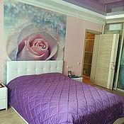 Для дома и интерьера ручной работы. Ярмарка Мастеров - ручная работа Стеганое покрывало фиолетовое в ромб. Handmade.