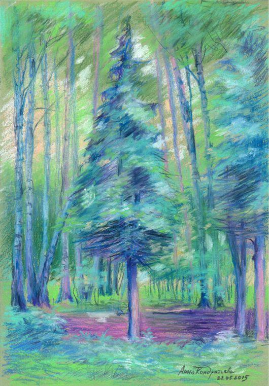 """Пейзаж ручной работы. Ярмарка Мастеров - ручная работа. Купить Картина пастелью. """"Вечер в лесу"""". Handmade. Картина в подарок, пастель"""