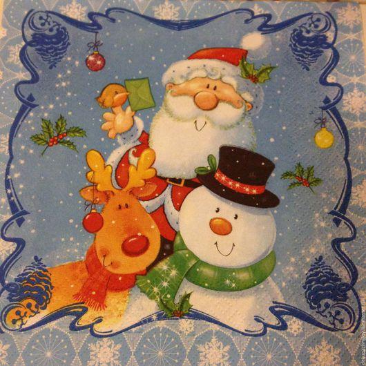 Салфетка для декупажа -Новый год - Дед Мороз и снеговик, олень Декупажная радость