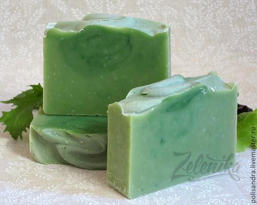 """Мыло ручной работы """"Зелень"""" (натуральное, с нуля) с ярким ароматом свежей зелени"""