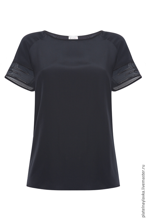 Блузки ручной работы. Ярмарка Мастеров - ручная работа. Купить Шелковая блузка с кружевными вставками. Handmade. Черный, шелк, кружева