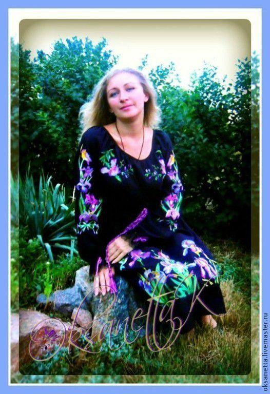 """Платья ручной работы. Ярмарка Мастеров - ручная работа. Купить Платье """"Ирисы"""". Handmade. Черный, ирисы, вышитое платье"""