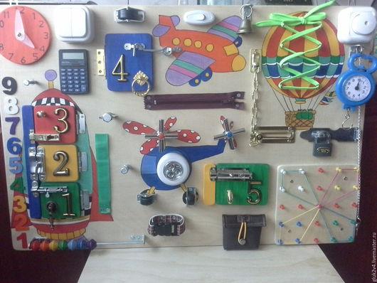 Развивающие игрушки ручной работы. Ярмарка Мастеров - ручная работа. Купить Бизиборд Воздухоплаватели. Handmade. Комбинированный, 2года, самолет, шнурок