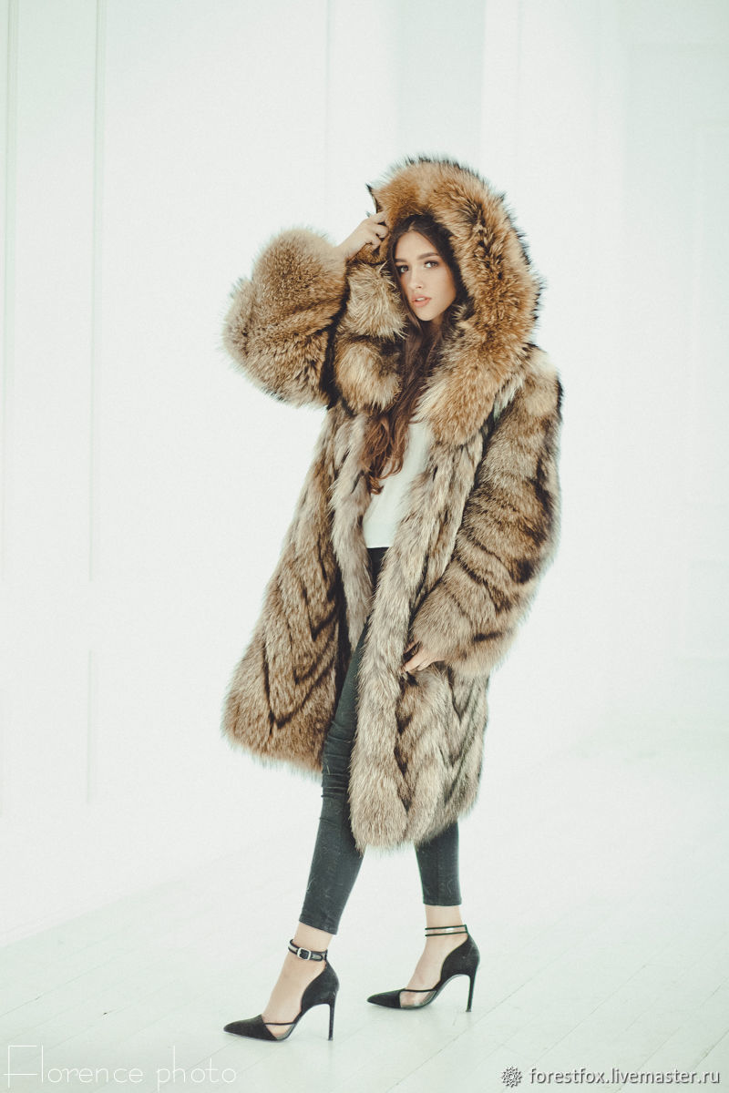 Raccoon fur coat with hood, Fur Coats, Moscow,  Фото №1