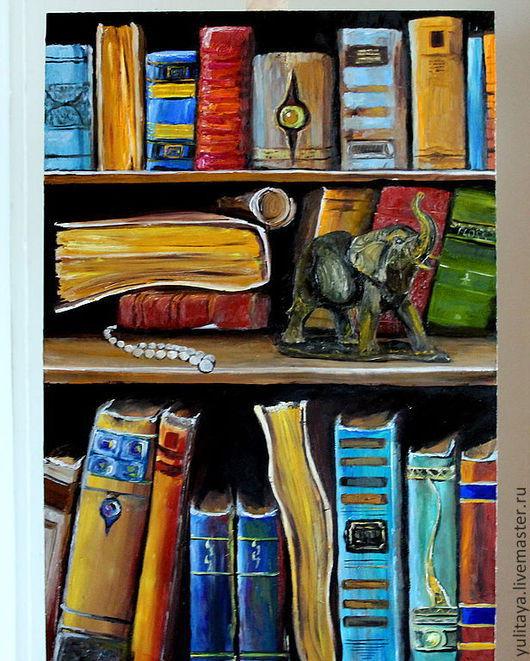Натюрморт ручной работы. Ярмарка Мастеров - ручная работа. Купить картина маслом Старинные книги. Handmade. Книги, картина для интерьера