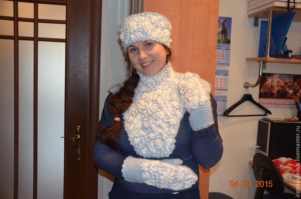 Set 'Boyarynya 3' (cap mittens bib), Headwear Sets, Moscow,  Фото №1